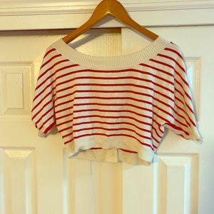 Guess Red & White Striped Knit Cropped Top XS
